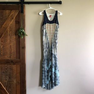 Sundance Silk Mixed Pattern Lace Maxi Dress